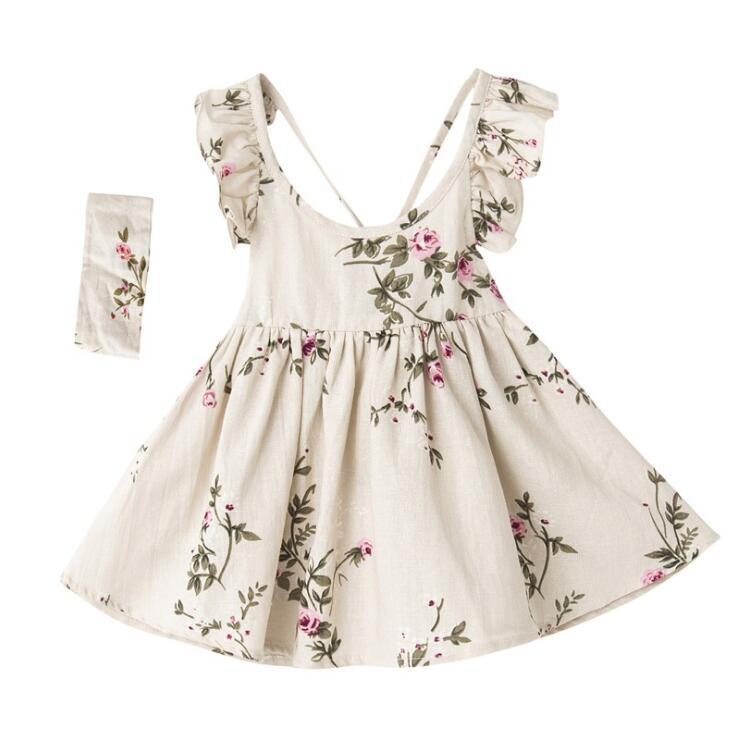 infant toddler girls cotton and linen flowers summer dress headband set children girls cross straps sling