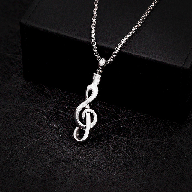 Silver Musical Note Memorial Necklace