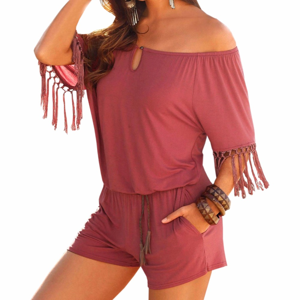 Summer Playsuits Female Beach Boho Short Jumpsuits Overalls Casual Slash Neck Tassel Wom ...