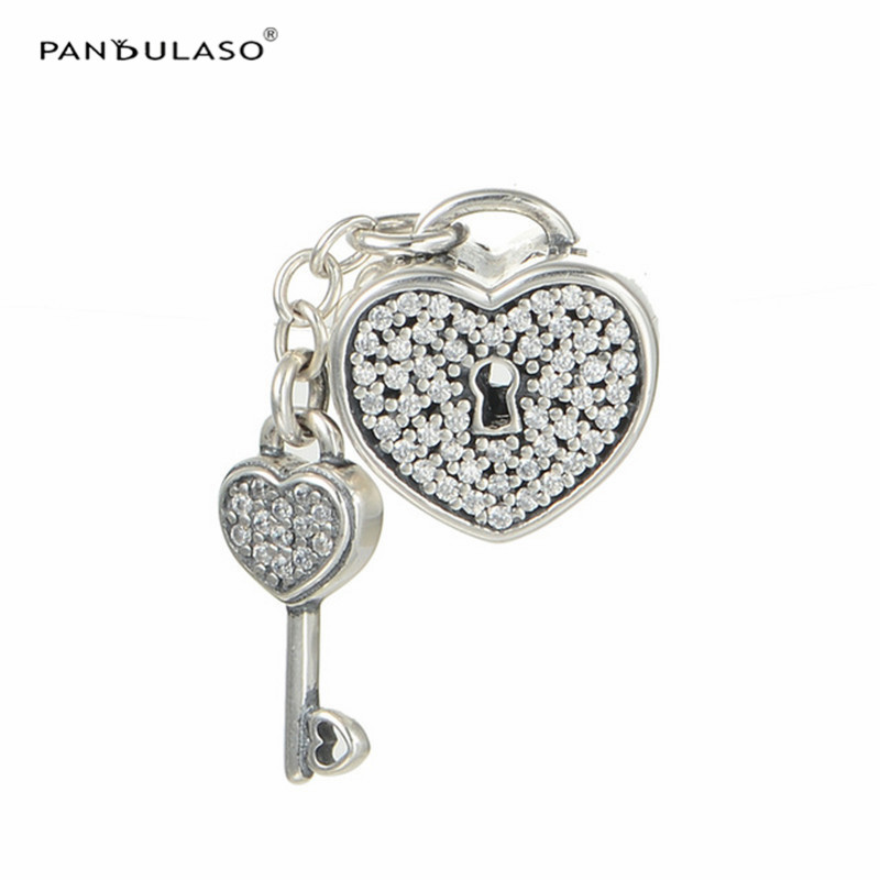 100% 925 Sterling Silver Jewelry Charms Bead Fits European Silver Charm Bracelet & Choker Lock With Key Pave Bead  DIY Jewelry