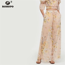 ROHOPO Women Chiffon Printed Wide Leg Pant Autumn Vintage Pink Soft High Waist Floral Pants #LT2070