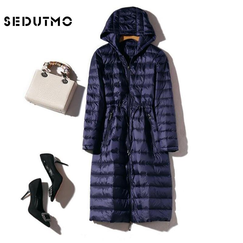 SEDUTMO Winter Long Womens Down Jackets Ultra Light Duck Down Coat Hoodie Warm Slim Autumn Puffer Jacket Outerwear ED499