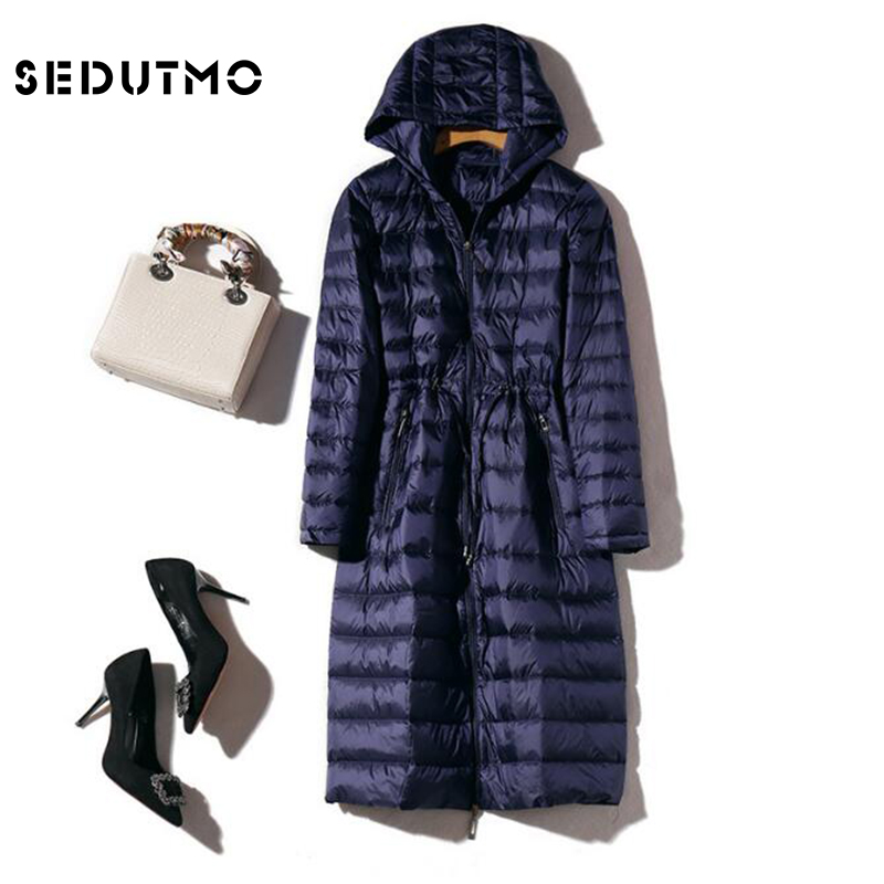 SEDUTMO Winter Long Womens   Down   Jackets Ultra Light Duck   Down     Coat   Hoodie Warm Slim Autumn Puffer Jacket Outerwear ED499