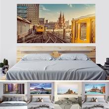 3DStar Sneeuw Berg Lavendel Stad Strandkasteel Venetië Stad Tram Bed Hoofd Sticker Woondecoratie Zelfklevend Papier Muurschilderingpasta