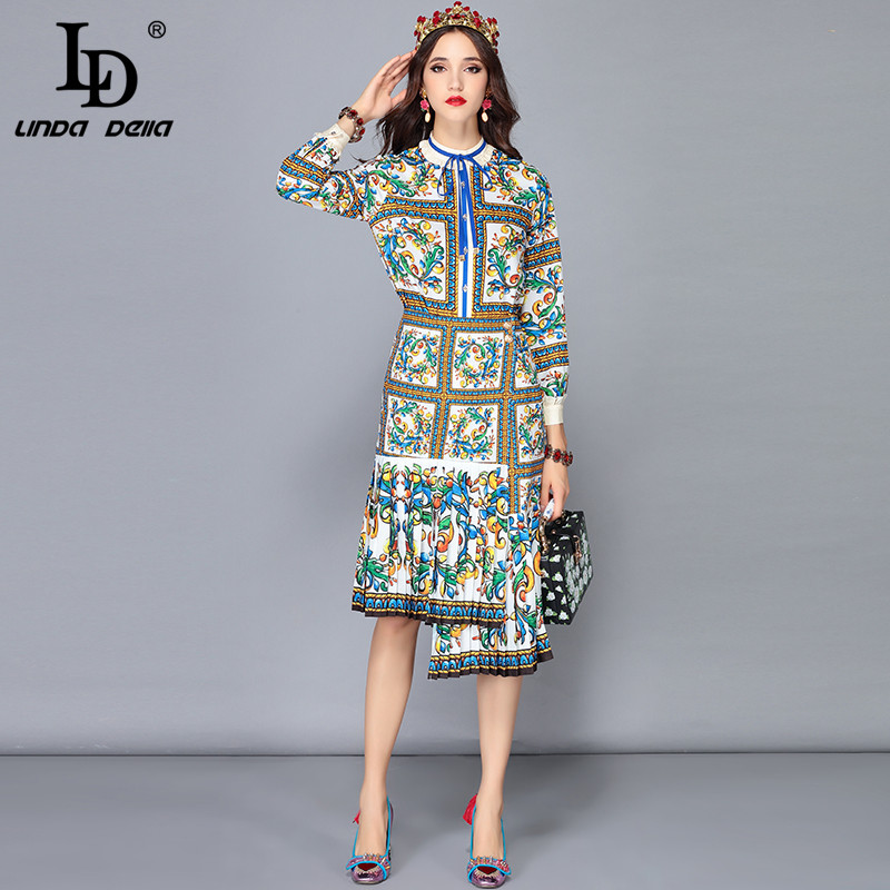 LD LINDA DELLA New Fashion Runway Skirts Two Pieces Set Women s Long Sleeve Blouses Floral