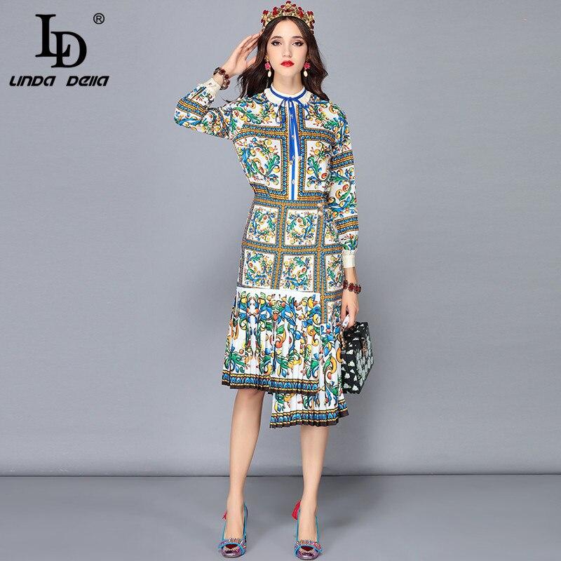 Kadın Giyim'ten Kadın Setleri'de LD LINDA DELLA Yeni Moda Pist Etekler İki Adet Set kadın uzun kollu bluzlar + Çiçek Baskı Asimetrik Etek Setleri Takım Elbise'da  Grup 1