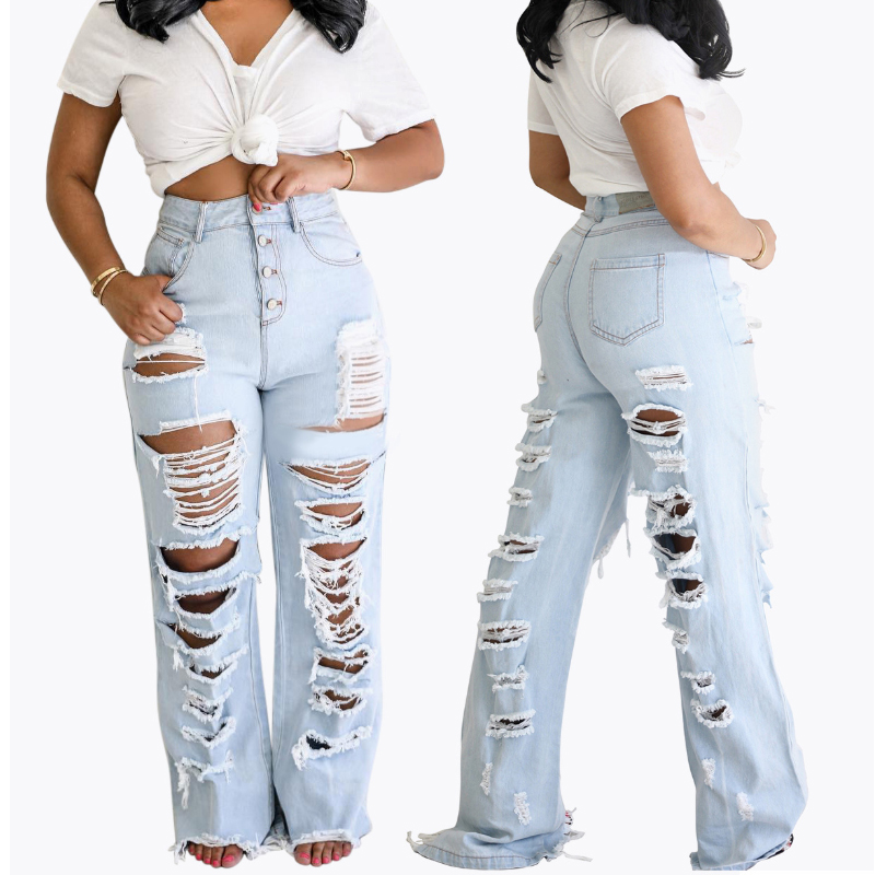 Street Front Back Holes Distressed Ripped Jeans For Women Loose High Waist Boyfriend Jeans Beggar Buttons Long Straight Denim