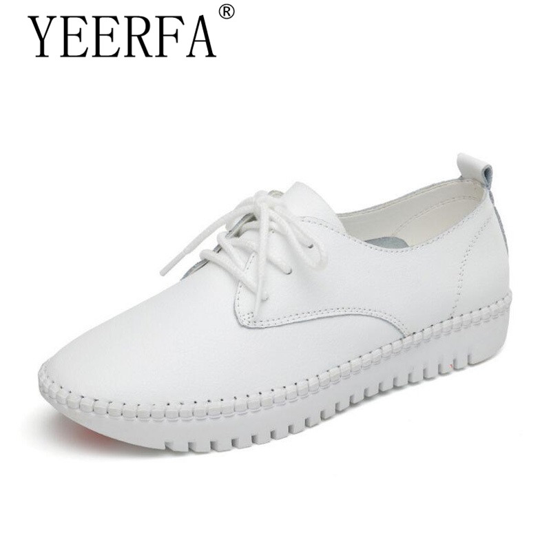 YEERFA Leather Flat Shoes For Women 2017 Spring Summer Fashion Casual White Loafers Shoes Round Toe Lace-up Muffin Female Shoes tfsland men women genuine leather loafers students white shoes unisex spring round toe lace up breathable walking shoes sneakers