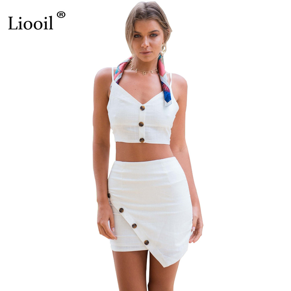 Szkzk 2018 Women Summer Sexy Two Pieces Set Dresses V Neck Self Tie Back Crop Top Button Sleeveless Mini Bodycon Beach Dress