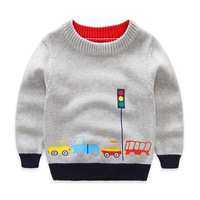 Boys Cotton Swearters Kids O Neck Winter Clothes Children Car Embroidery Casual Outerwear
