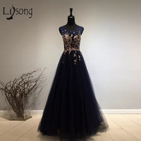 Elegant Navy Blue Long Evening Dresses With Colorful Appliques Pearls A Line Formal Evening Gowns Side