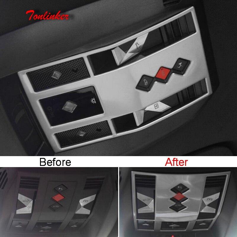 Tonlinker 1 pcs luzes de leitura Dianteira adesivo Cobrir para CITROEN DEESSE DS7 2018-19 Car Styling Tampa de aço Inoxidável adesivos