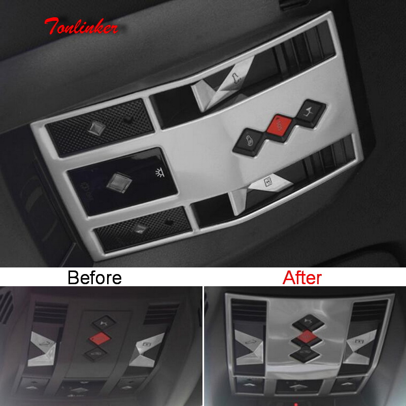 Tonlinker 1 PCS Front Reading Lights Cover Sticker For CITROEN DEESSE DS7 2018-19 Car Styling Stainless Steel Cover Stickers
