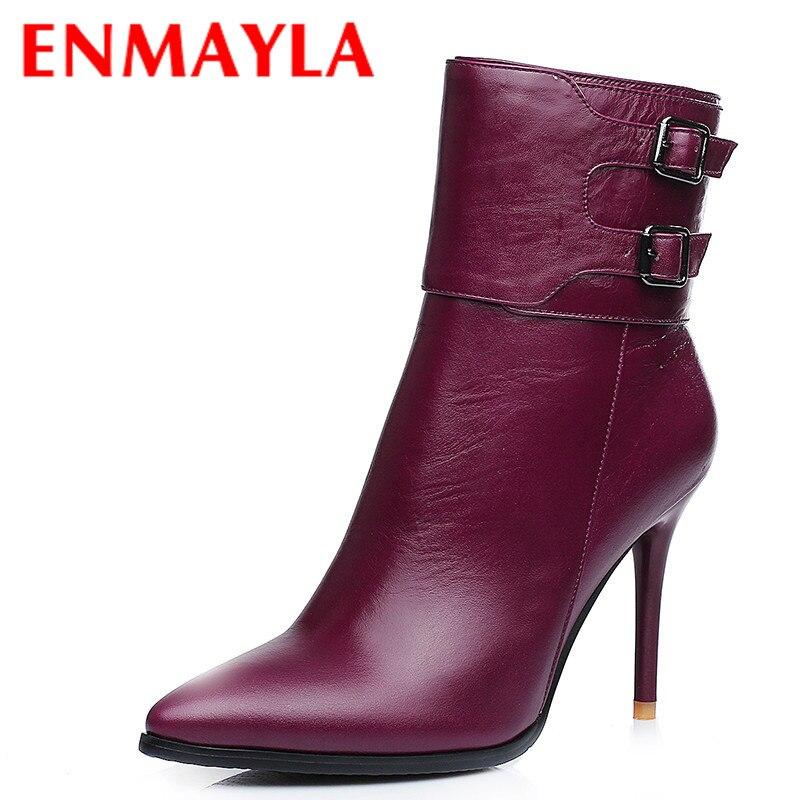 Para Toe Las Púrpura Tobillo Mujer Zapatos Enmayla Señaló Botas Nuevo Boda De Delgada Invierno Retro Hebilla Talones Mujeres TwPIvq