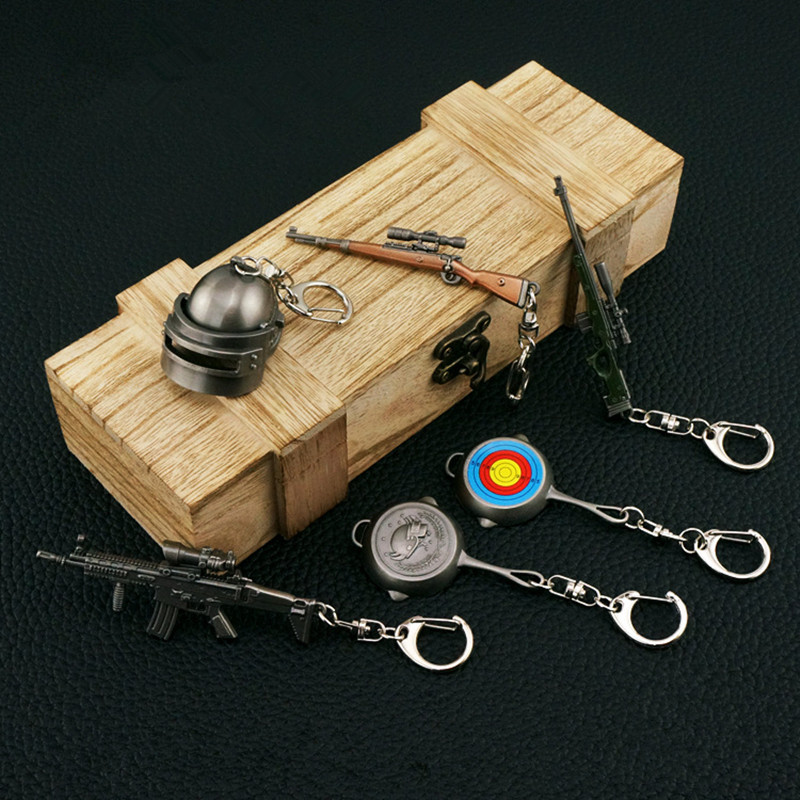 Game PUBG Playerunknown's Battlegrounds box is equipped with six sets Keychain Pans Weapon Model Key Chain Surprise gift