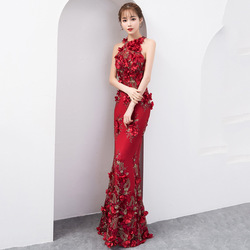 Oversize 3XL Chinese Sexy Pailletten Oosterse Party Vrouwelijke Cheongsam Show Qipao Jurk Elegante Celebrity Banket Jurken