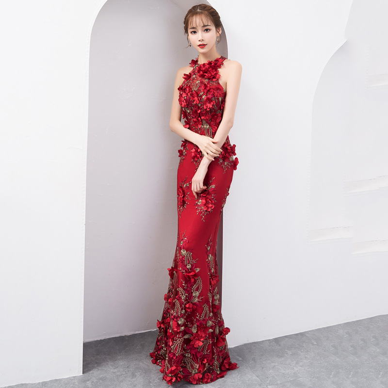 Oversize 3XL Chinese Sexy Sequins Oriental Party Female Cheongsam Stage Show Qipao Dress Elegant Celebrity Banquet Dresses