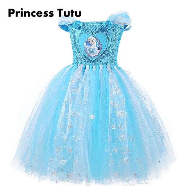 572275a18 Princesa Tutu Niñas vestido princesa vestido de fiesta de cumpleaños  princesa brillante vestidos tutú azul hecho