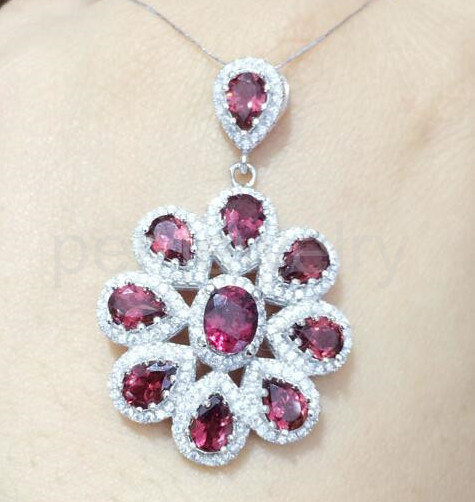 Red garnet pendant 1ct10pcs gems natural real red garnet 925 red garnet pendant 1ct10pcs gems natural real red garnet 925 sterling silver fine jewelry mozeypictures Gallery