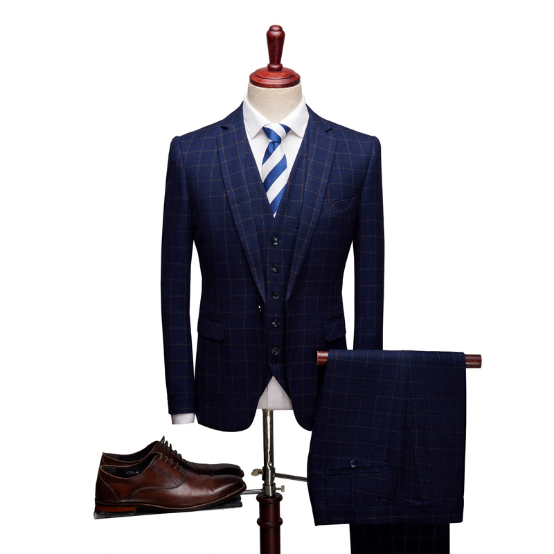 2019 New Three-piece Suit Suite Boutique Business Casual And Comfortable Custom Plaid Suits Slim Suits