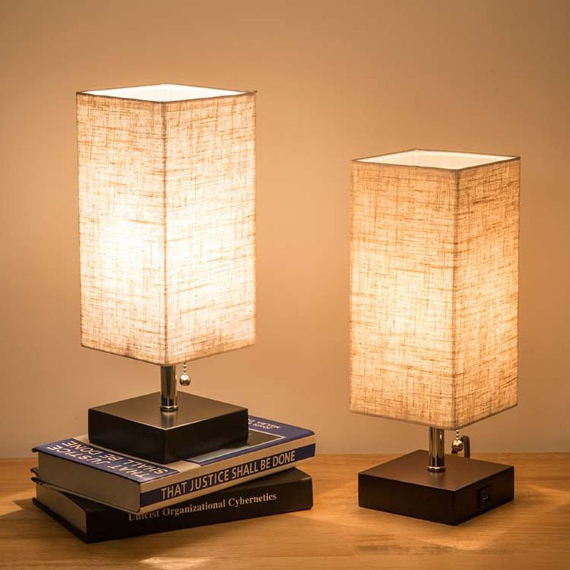 1 Set Wood Base Fabric Shade Bedside Table Lamp With USB Port & Pull Switch Modern Design Desk Lamp EU/US Plug