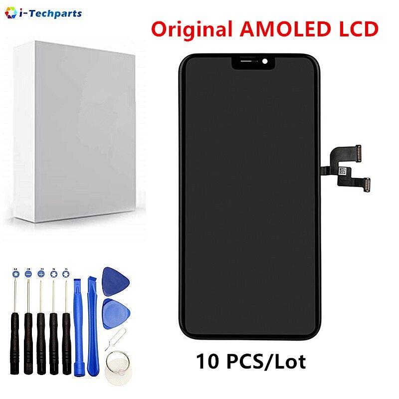 10 pcs DHL Gratuite Pièce De Rechange pour iPhone X Écran LCD et Digitizer Écran Tactile Assemblée, D'origine AMOLED LCD