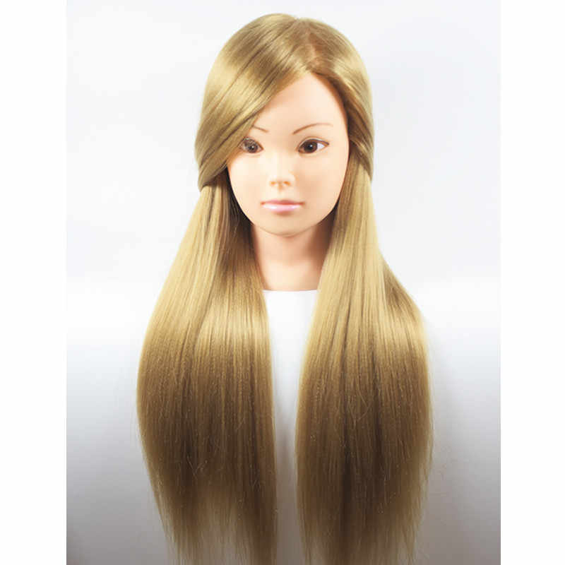 "26 ""100% Hoge Temperatuur Fiber Blonde Lange Hair Kappers Training Head Model met Klem Stand Practice Salon Mannequin Hoofd"