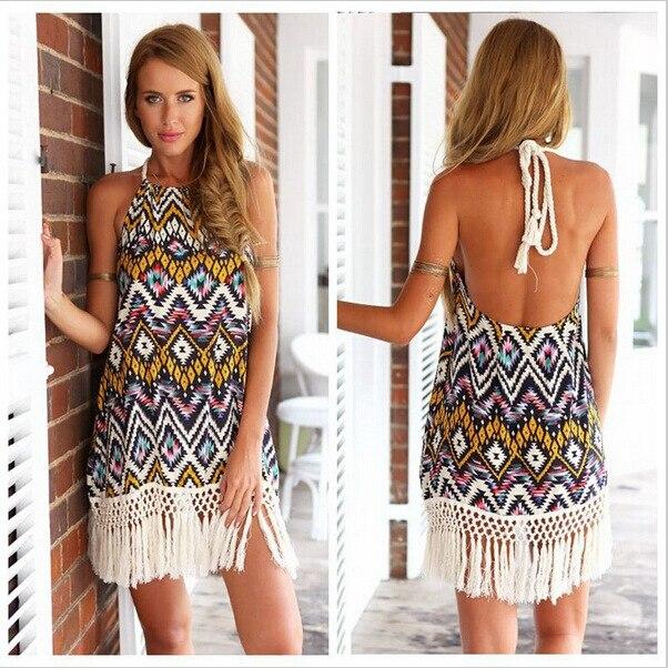 0e397f3a746d Summer Halter Backless Ethnic Floral Print Tassel Short Dress Shift Beach  Dresses Kleider Vetement robe Femme Vestidos Femininos