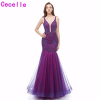 2019 Hot Purple Luxury Beading Long Mermaid Evening Dresses Deep V Neck Sexy Backless Teens Formal Prom Party Dress Real Photo
