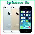 Desbloqueado original iphone 5s com impressão digital ios 8mp camera gps bluetooth gprs wifi multi language lte touch id telefone móvel