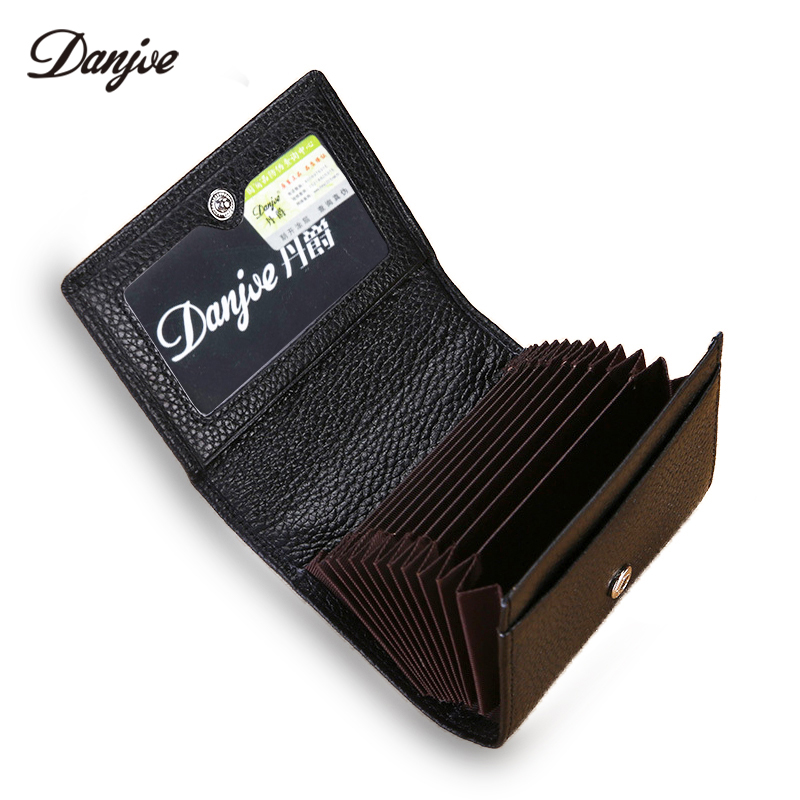 DANJUE Genuine Leather Men Card Holder Large Capacity Card Wallet Business Credit Card Male Purse Hasp Trifold Short Clutch Bag