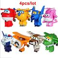 4pcs/lot Hot Sale Super Wings Mini Planes Transformation Robots Action Figures  Wings Super Deformation kids toys Gifts