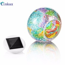 Mosaic Glass Outdoor Solar Power Ball light Garden Stake Color Changing Lawn LED Light atmosphere decor lawn lamp