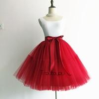 Sexy 5 Layers Midi Tulle Skirt Pleated Tutu Skirts Womens Vintage Party Skirt Retro Lolita Petticoat