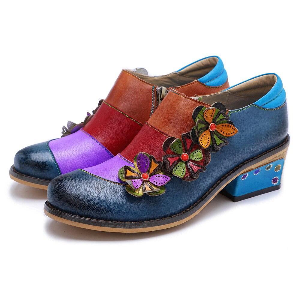 Johnature 2019 nowa wiosna Retro mieszane kolory prawdziwej skóry okrągłe Toe aplikacje Handmade damskie buty na co dzień pompy Med obcasy w Buty damskie na słupku od Buty na  Grupa 2