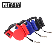 2018 Retractable Pet Dog leash Nylon Pet Led leash Three Function For Small Medium Dogs collar 3 Color 5M light Pet Collars