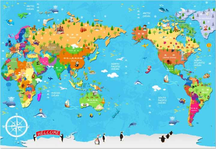 Online buy wholesale cartoon world map of the world large children can be customized great art large murals 3d wallpaper wall stickers children bedroom dinning room cartoon gumiabroncs Gallery