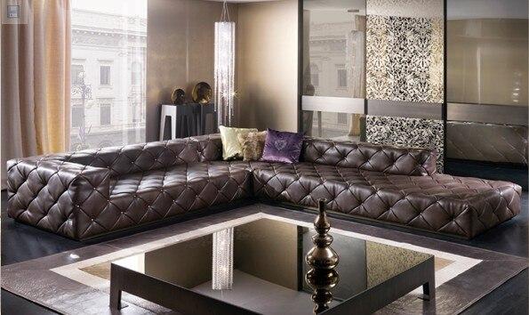 Verschiffen Graded Italienische Echtem Leder Sofa Schnitts Wohnzimmer Chesterfield L Form Mit