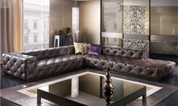 Top Graded Italian Genuine Leather Sofa Sectional Living Room Sofa Chesterfield Sofa L Shape With Crystal Buttons SF314 Stock