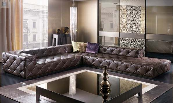 US $1318.6 5% OFF top graded italian genuine leather sofa sectional living  room sofa chesterfield sofa L shape with crystal buttons SF314 stock-in ...