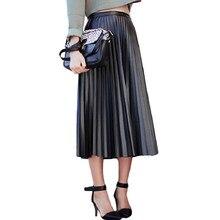 6d3f4491f1 2017 nueva primavera otoño mujeres Faldas vintage alta cintura negro Faux cuero  Faldas partido Delgado femenino MIDI pu Falda pl.