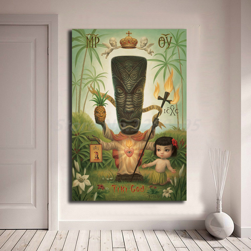 Tiki God By Mark Ryden Childish Strange Dark World Canvas Posters Prints Wall Art Painting Decorative Picture Modern Home Decor(China)