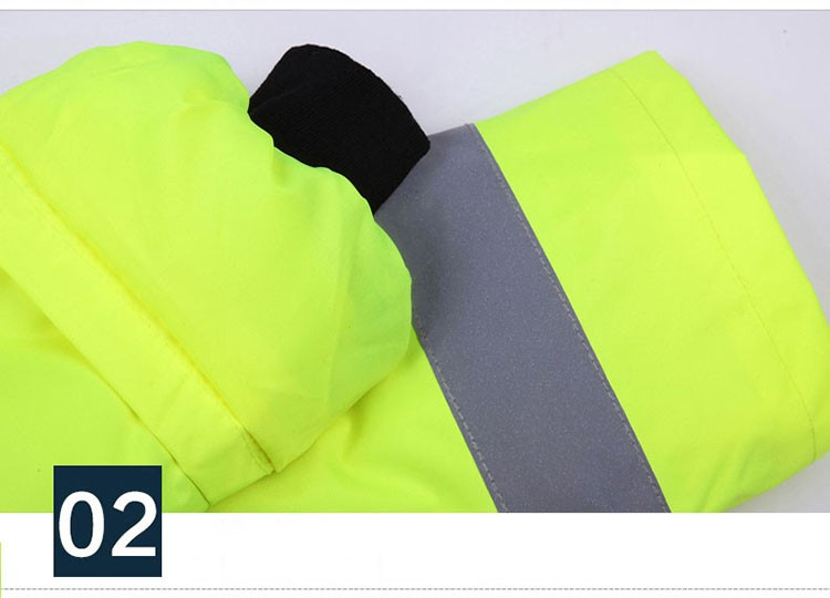 CCGK safety clothing outdoor high visibility reflective jacket waterproof rain coat  warm cotton padded work wear winter outwear (12)