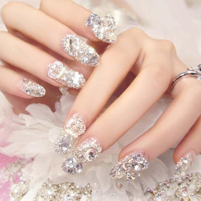 Ladies Shining Rhinestones False Nail 3d Clear Mixed
