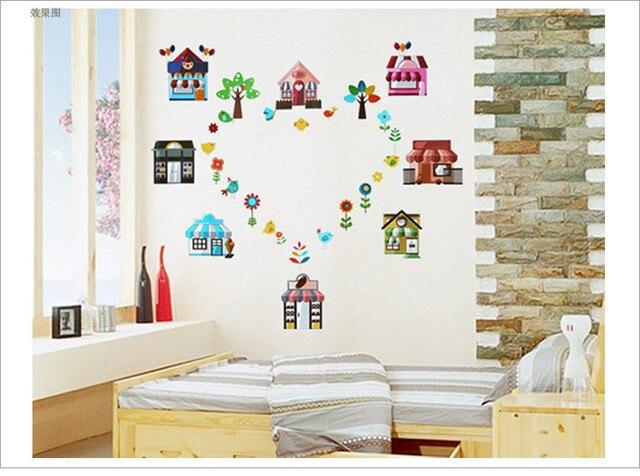 bande dessine oiseaux maison familiale dcoration sticker mural mnages nouveaut miroir de salle de bains vinyle - Etagere Murale Miroir