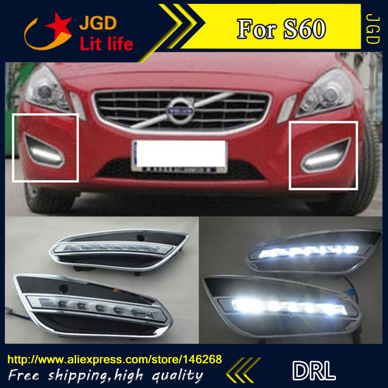 Free shipping ! 12V 6000k LED DRL Daytime running light for Volvo S60 2013 fog lamp frame Fog light Car styling