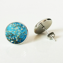 Van Gogh Almond Stud Earrings Branch in Bloom Art Earring Bridal Jewelry Goghs Painting Glass Cabochon