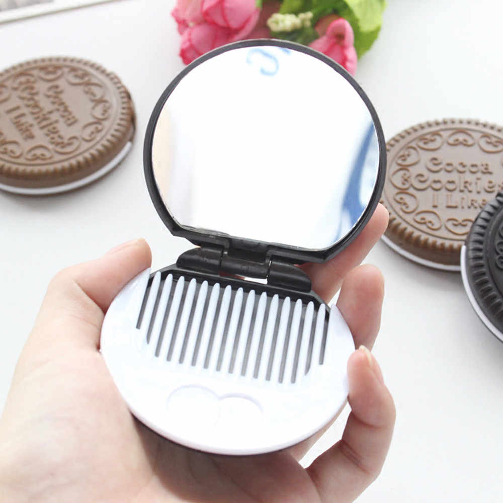 Chocolate Biscuits Compact Mirror 1 PC Cute Style Cocca Cookie Shape Small Pocket Foldable Portable Makeup Mirror with Comb