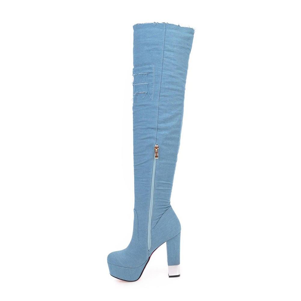 0ccc32d4 Fur Blue dark La Sobre Fiesta Zapatos Grande dark 2018 Doratasia light Talla  32 Blue Fur Rodilla Light Plataforma ...