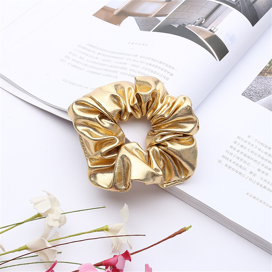 1PC Women Pu Faux Leather Elastic Hair Tie Hair Rope Tie Bobble Sports Dance Scrunchie Hair Styling Tools For Girl
